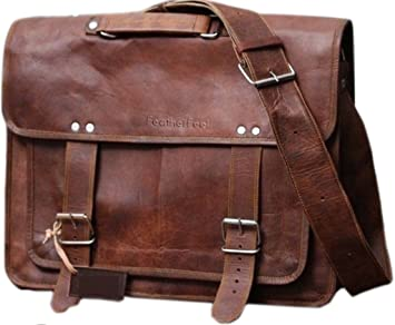 e7c26f47760 COOL STUFF Men s Real Leather Vintage Soft Laptop Shoulder Bag Brown ...