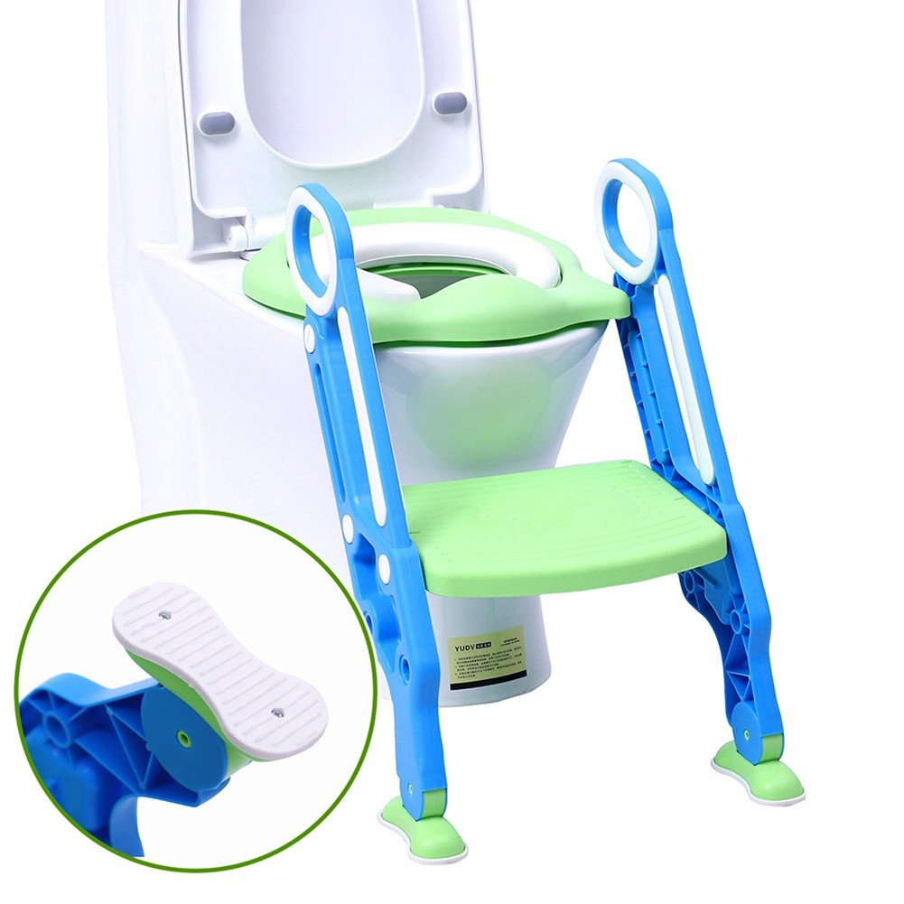 Potty Chair Portable Potty Training Seat for Toddler Toilet Seat with Ladder for Boys and Girls, Soft Cushioned Children Toddler Toilet Seat with Ladder Step Stool Kids WC Training with Anti Slip Pad Dadanana
