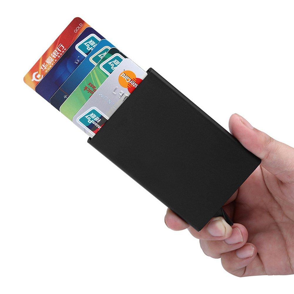 Credit Card Holder RFID Blocking Aluminum Money Clip Pop-up Metal ...
