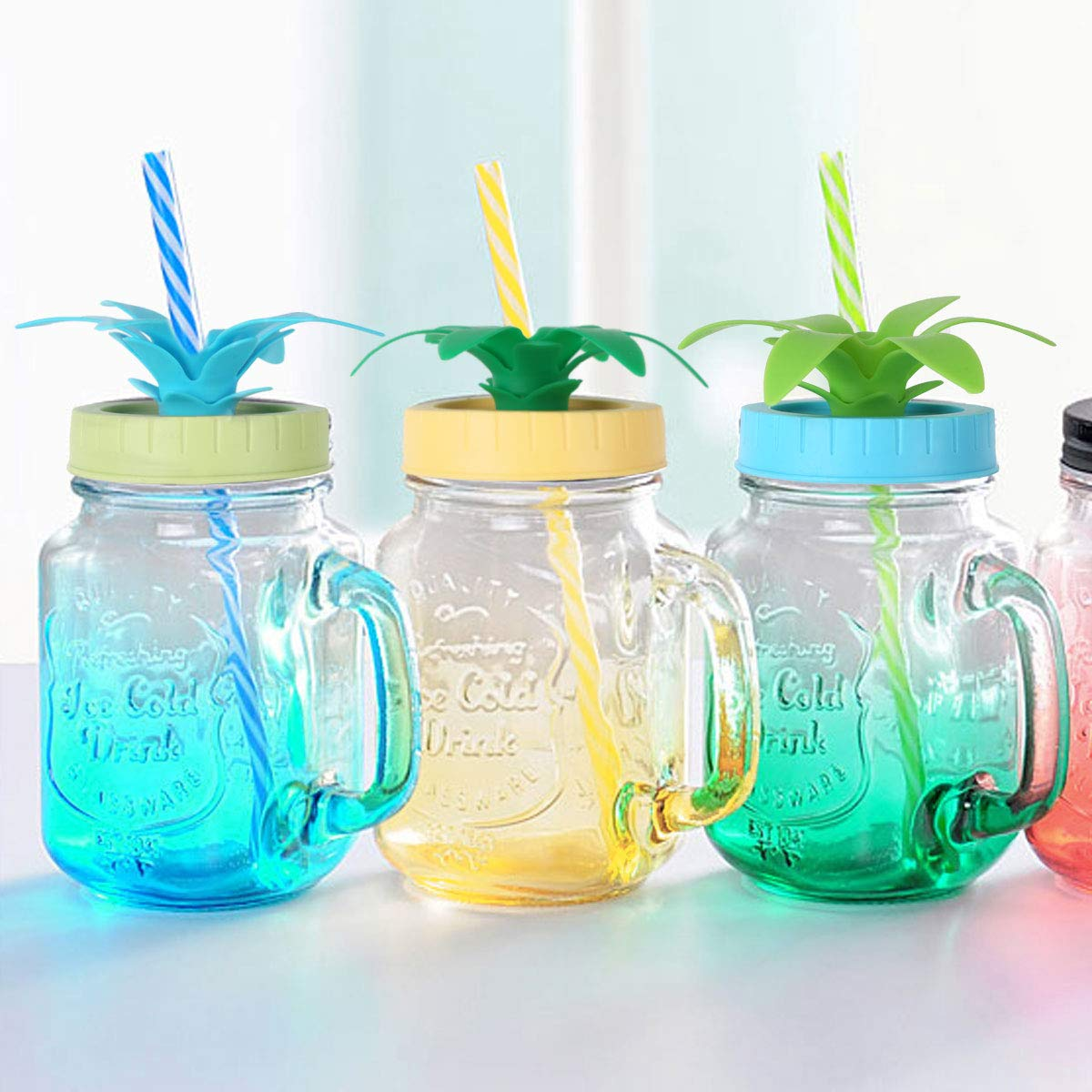 4Pcs Bottle Lid Cap Cover Plastic with Pineapple Shape Straw Hole for Mason Jars