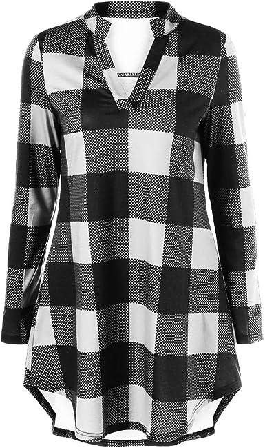 Camisa para Mujer, Moda Camisa de Cuadros Manga Larga Blusa ...