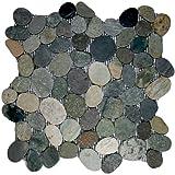 Cheap Sliced Bali Ocean Pebble Tile 1 sq.ft. (Mesh Mounted)