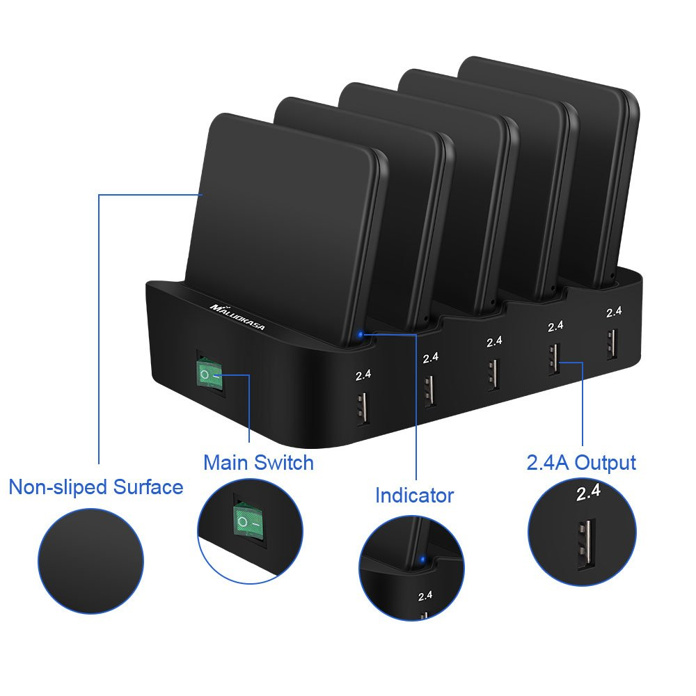 Multiple Port Charging Station, Cell Phone Wireless Charging Pad & USB Charging 5 Ports Dock 2.4A for Smartphones KindleTablets Removeable Baffles Fast Charge Organizer with Indicator (2 Wireless Pad)