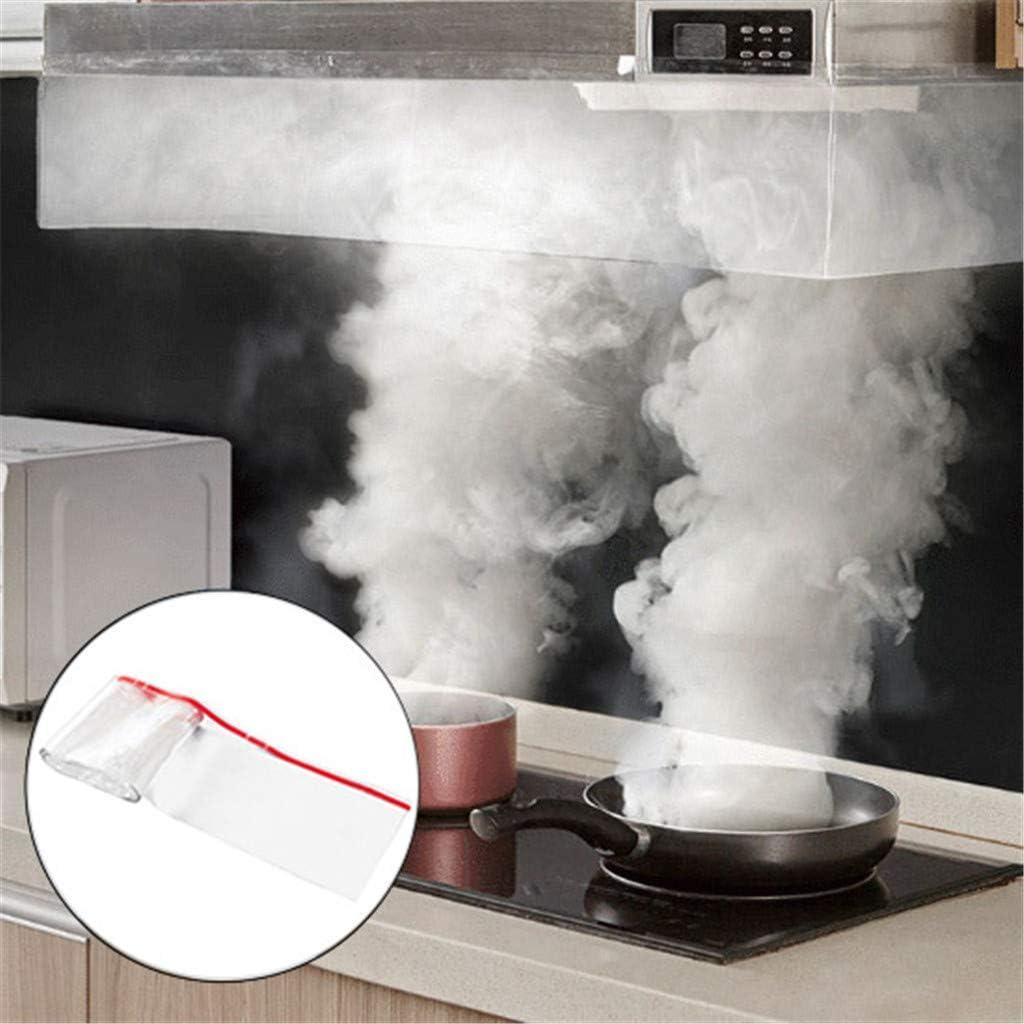 Magie - Campana extractora de humos de cocina para absorber el vapor de la cocina, Ewendy, cubierta anti-humo, para la mayoría de cocinas, autoadhesiva, 200 × 15 cm, Blanco