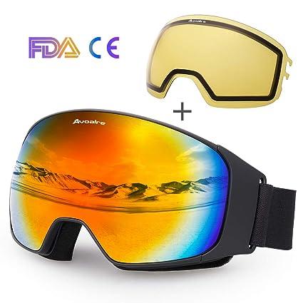72da31c965b8 Avoalre Ski Goggles Anti Fog Ski Snowboard Goggles for Mens Womens 100% UV  Protection Glasses with Interchangeable Spherical Mirrored Lenses (Red): ...