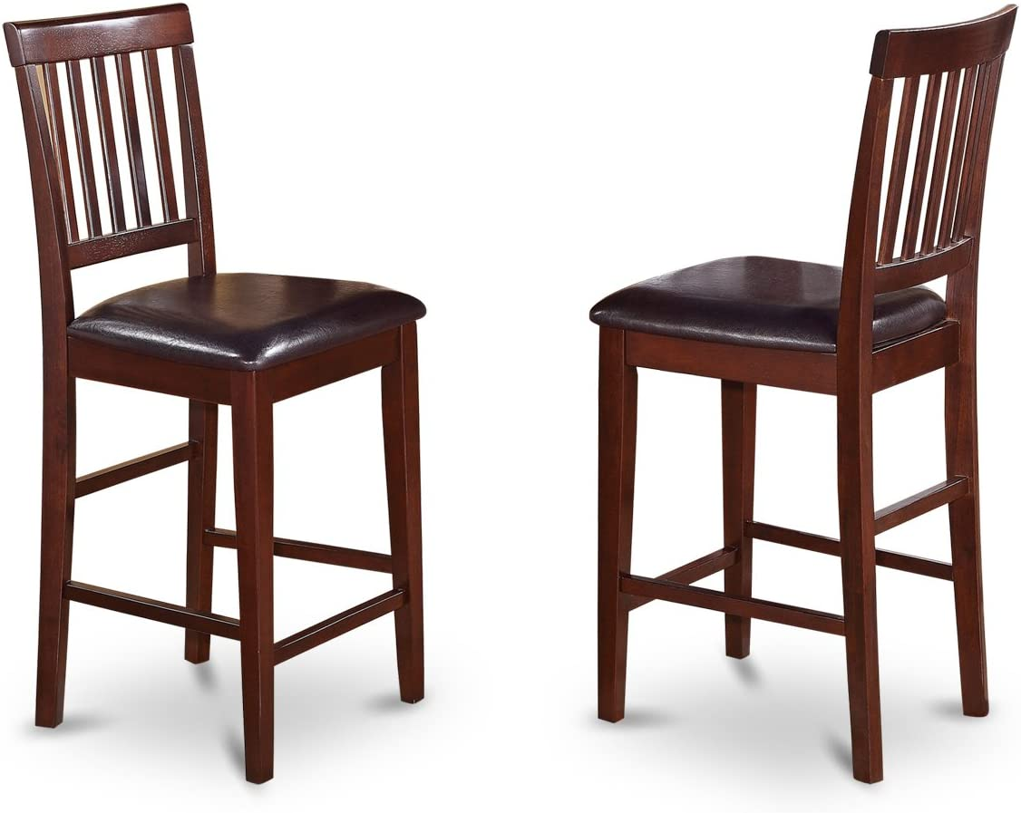 Vernon Counter Stools with Faux Leather Seat – Mahogany Finish