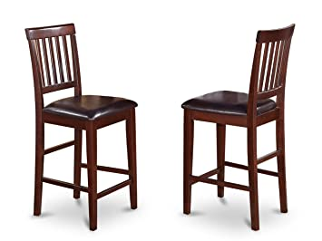 Surprising East West Furniture Counter Stool Set With Faux Leather Seat Mahogany Finish Set Of 2 Uwap Interior Chair Design Uwaporg