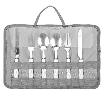 Familie Grillparty Aufbewahrungstasche f/ür Reisen tragbares Grillzubeh/ör Gabel Camping Messer Tasche Outdoor-Aktivit/äten Wuudi Picknick-Besteck-Set