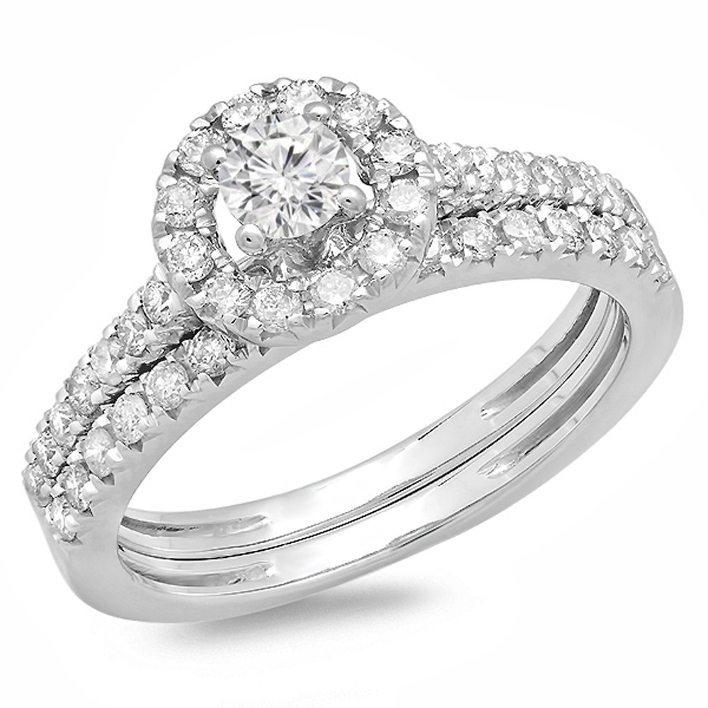 0.85 Carat (ctw) 14K White Gold Round Cut Diamond Bridal Halo Style Engagement Ring Set (Size 8) by DazzlingRock Collection