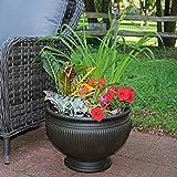 Sunnydaze Elizabeth Ribbed Urn Indoor/Outdoor Planter Pot, Rust Finish, Polyresin, 16-Inch Diameter