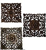 Set of 3 Carved Wood Wall Plaques. Floral Wood Wall Hanging. Rustic Wood Wall Decor. Brown. Size 12″ Square For Sale