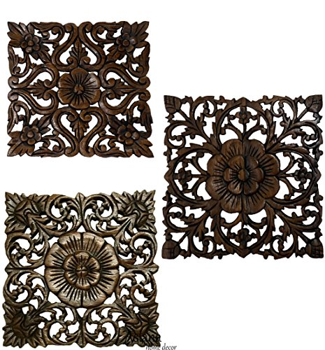 Set of 3 Carved Wood Wall Plaques. Floral Wood Wall Hanging. Rustic Wood Wall Decor. Brown. Size 12