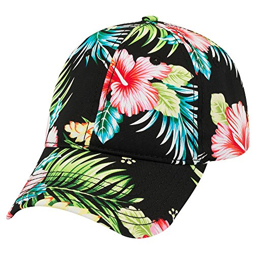 Armycrew Hawaiian Print Soft Crown Low Profile Adjustable Baseball Cap - DESIGN1