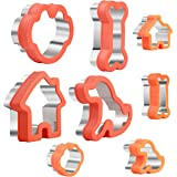 Dog Bone Cookie Cutter Set - Including Dog Bone, Paw Print, Puppy and Dog House Cookie Cutters Shapes- Stainless Steel Cookie Cutter molds for Kids Suitable for Cakes and Cookies (Set of 8)