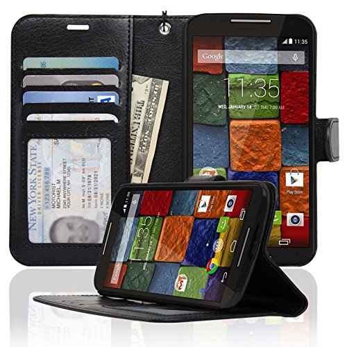 Navor Motorola Moto X (Second Generation) Folio PU Leather Wallet Case with Money Pocket -Black