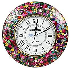 Colorful Marble Chunks Embedded Premium Handmade Nautical Time's Wall Decor Clock | Nagina International (American Pink)