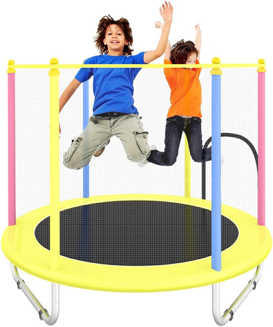 CLORIS Large Foldable Mini Trampoline for Kids Adults with Enclosure Net 55in-Load 450lbs, Fitness Rebounder Trampoline Exercise Jumping Mat Indoor Outdoor Garden Workout
