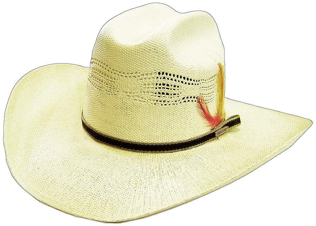 Amazon.com  Modestone Feather Bangora Straw Cowboy Hat 53   Sizes for Small  Heads    Clothing 29b87129000