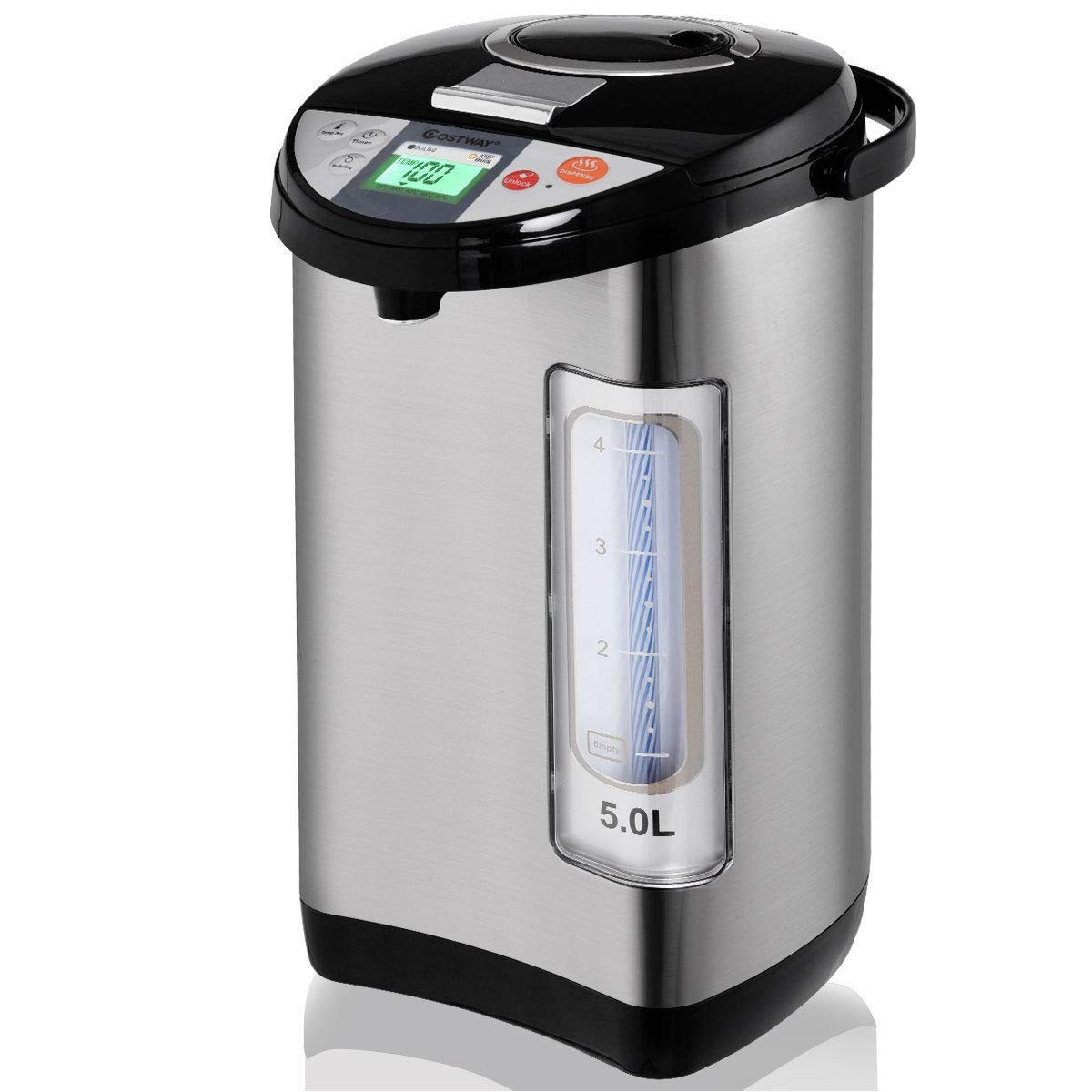 5-Liter Water Boiler and Warmer Electric Hot Water Dispenser | Food Grade Stainless Steel Boil Warm Kettle With LCD Display | 3 Water Dispensing Method | Timer Quick Reheating Function by Cway