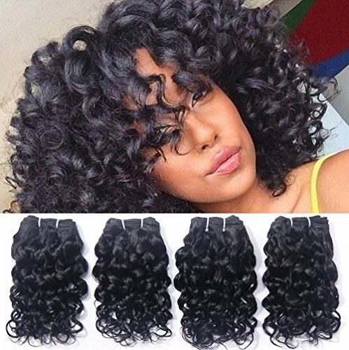 Remy Hair Human (Human Hair Brazilian Curly Weave 4 Bundles Virgin Unprocessed Cheap Remy Wet And Wavy Extensions 7A Grade New Style Italian Curl Black Natural Color 8 8 8 8 Inch One Bundle 50G Total 200G)
