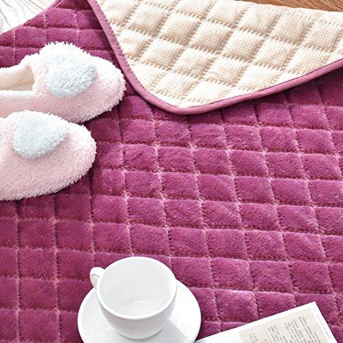 Decorative Rugs Modern Carpet Rectangle mats for Bedroom Living Room Simple Bedside Crawling mat Tatami Korean flattened Short Plush Home Non-Slip Foldable Washable-Purple 110x210cm(43x83inch)
