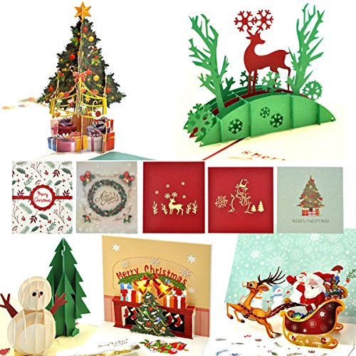 Christmas Cards, eZAKKA 3D Christmas Cards Pop Up Holiday Greeting Gifts Cards with Envelopes for Xmas Merry Christmas New Year, 5-Pack (Best Wishes For Merry Christmas And New Year)
