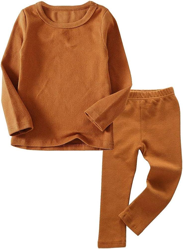 Toddler Boys Girls Thermal Underwear Long Sleeve T-Shirt Leggings 2Pcs Kids Winter Base Layer Set, 12Months-8Years