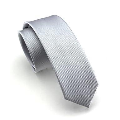 Elviros Écologique Cravate Étroit Solide Couleur Uni Homme 2.4    6cm   Aluminium da134abbd3d