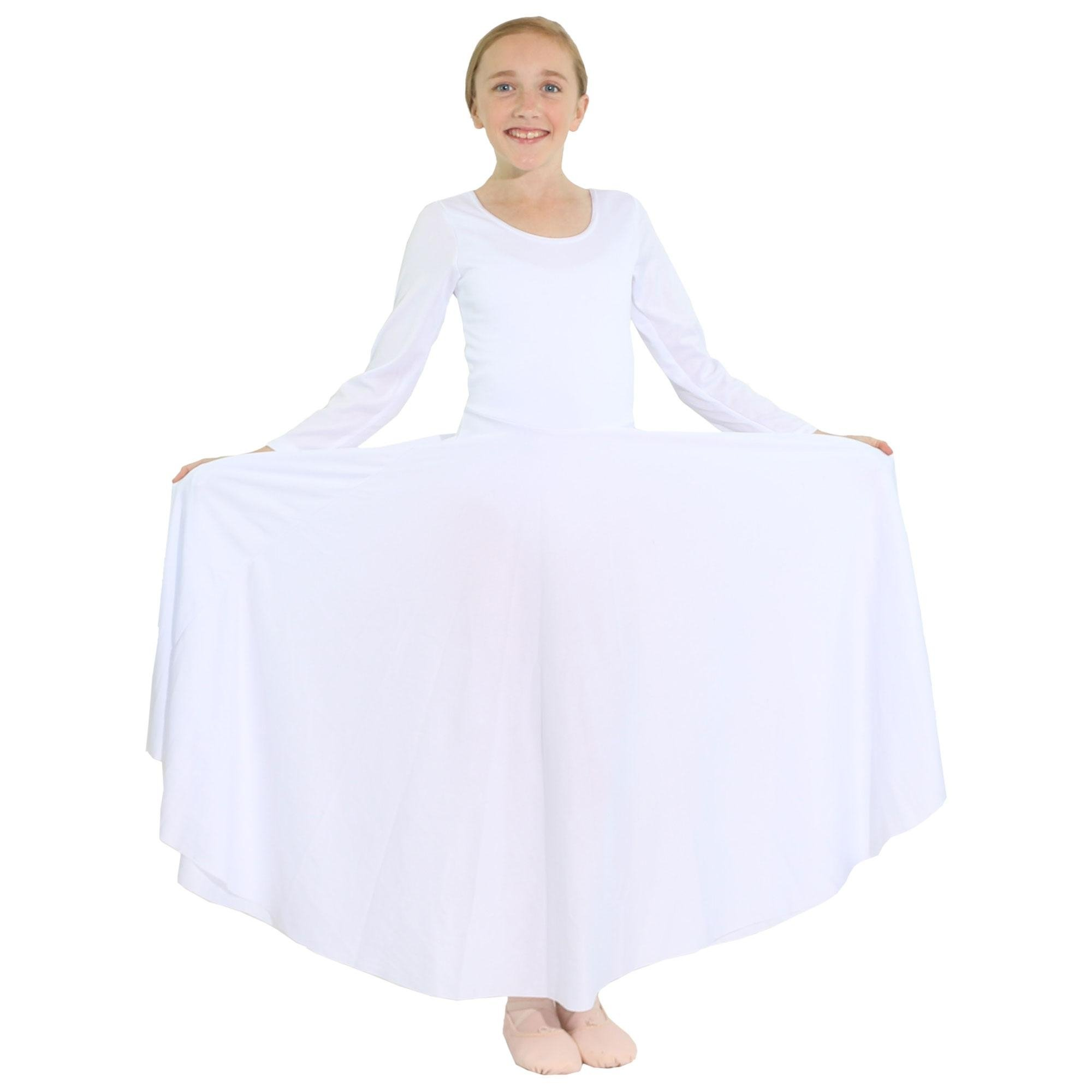 Danzcue Girls Praise Loose Fit Full Length Long Sleeve Dance Dress, White, 8-10 by Danzcue