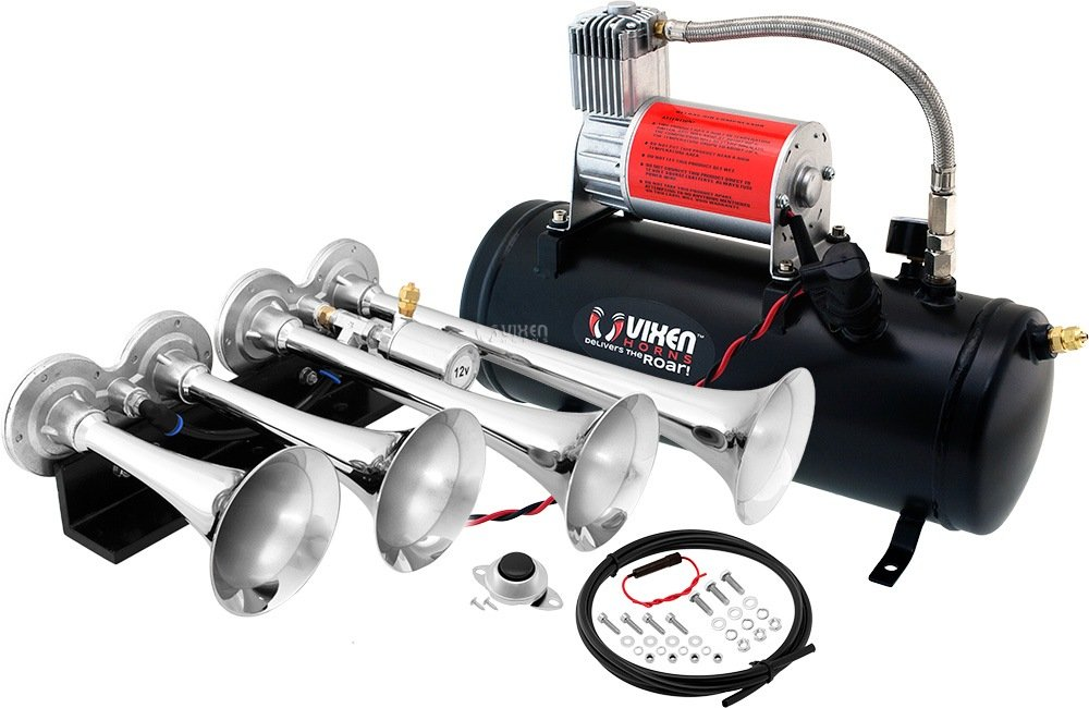 Vixen Horns Loud 149dB 4/Quad Chrome Trumpet Train Air Horn with 1.5 Gallon Tank and 150 PSI Compressor Full/Complete Onboard System/Kit VXO8530/4124C