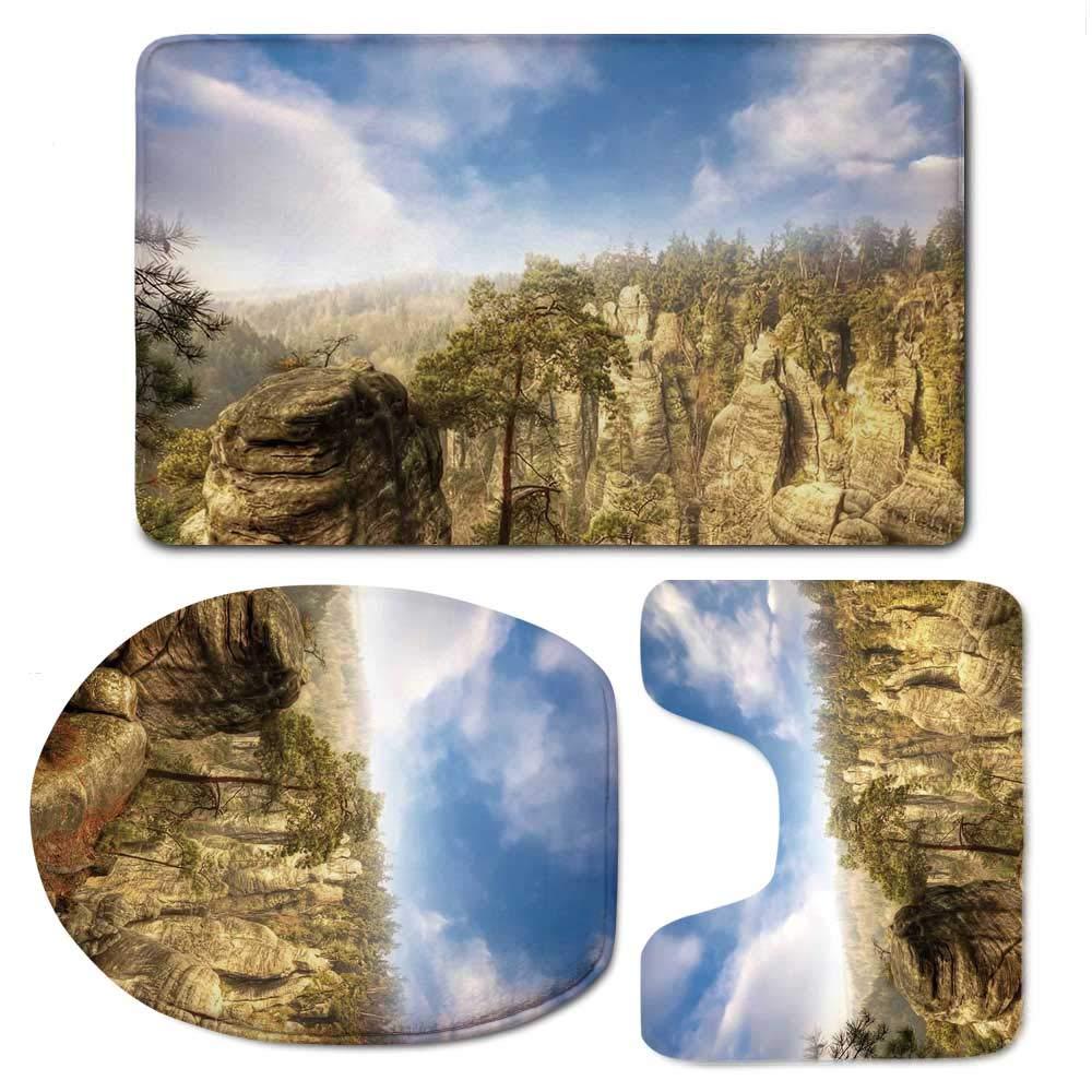 YOLIYANA Nature Durable Bathroom 3 Piece Mat Set,Wonders of The World National Park Rock Formation Czech Image for Bathroom,F:20'' W x31 H,O:14'' Wx18 H,U:20'' Wx16 H