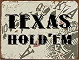 chengdar732 Texas Hold 'Em Metal Sign, Cards, Poker Chip, Gaming, Game Room, Mancave, Den, Wall Décor