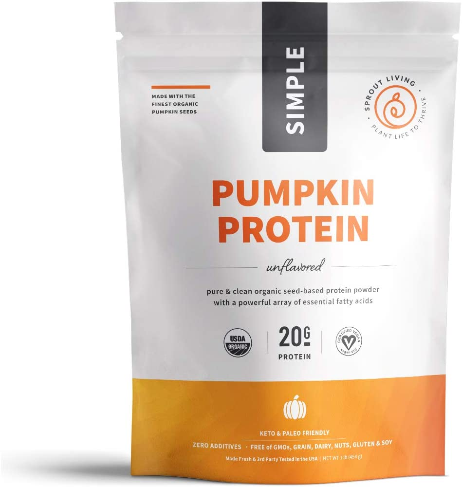 Sprout Living Simple Pumpkin Seed Protein Powder, 20 Grams Cold-Pressed Organic Plant Protein, Vegan, Gluten Free, No Dairy, No Additives 1 Pound, 16 Servings