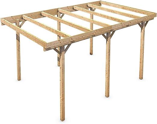 Amazon.es: Madera CarPort tejado plano madera maciza Kvh pie 3000 x 5000 mm