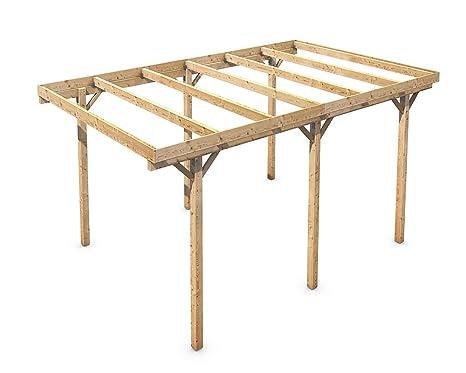 Freestanding Solid Wood Carport Flat Roof Kvh 3000x5000mm