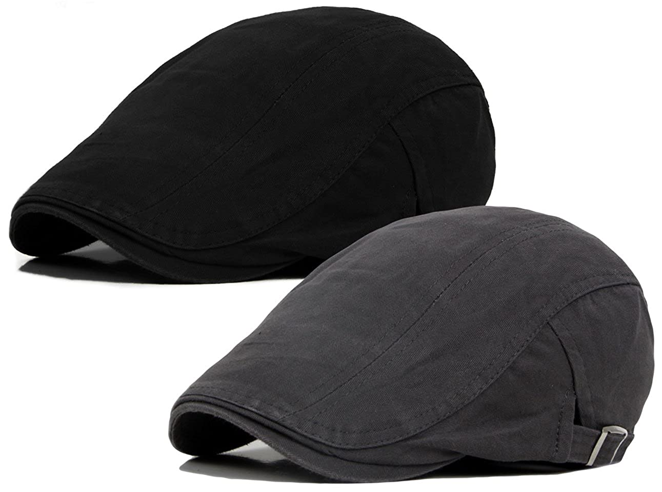 e55258ac8cab2 2 Pack Men s Cotton Flat Ivy Gatsby Newsboy Driving Hat Cap at Amazon Men s  Clothing store