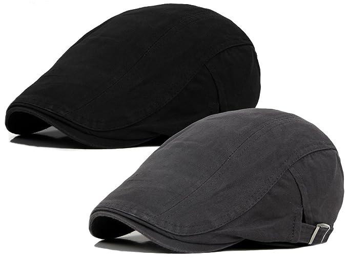 Qunson 2 Pack Men s Cotton Flat Ivy Gatsby Newsboy Driving Hat Cap ... 7ef818cdf24