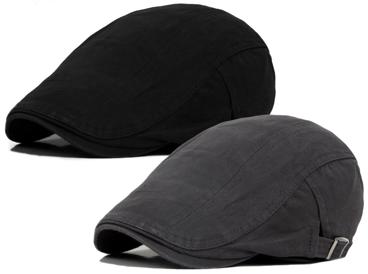 Qunson 2 Pack Men's Cotton Flat Ivy Gatsby Newsboy Driving Hat Cap
