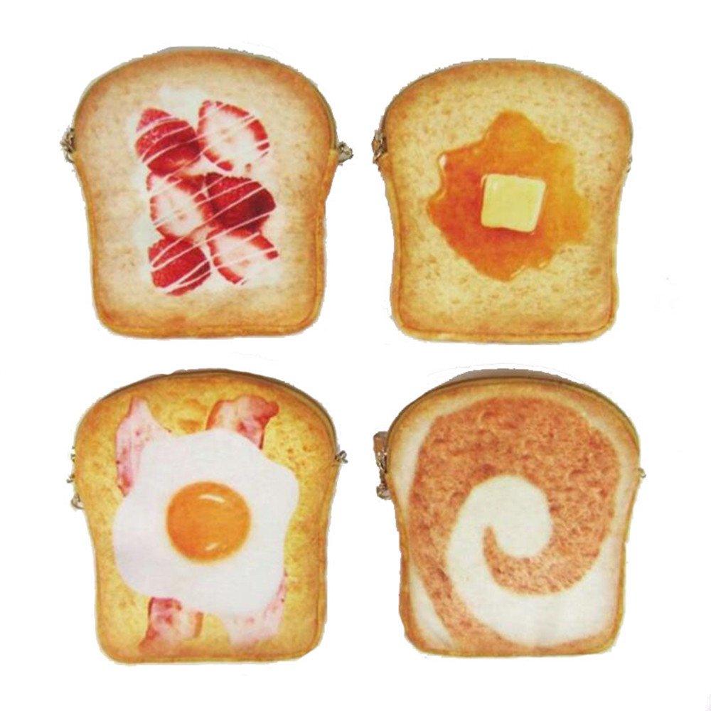Yummy Pocket Zip Coin Cute Buns of Bread Toast Purse