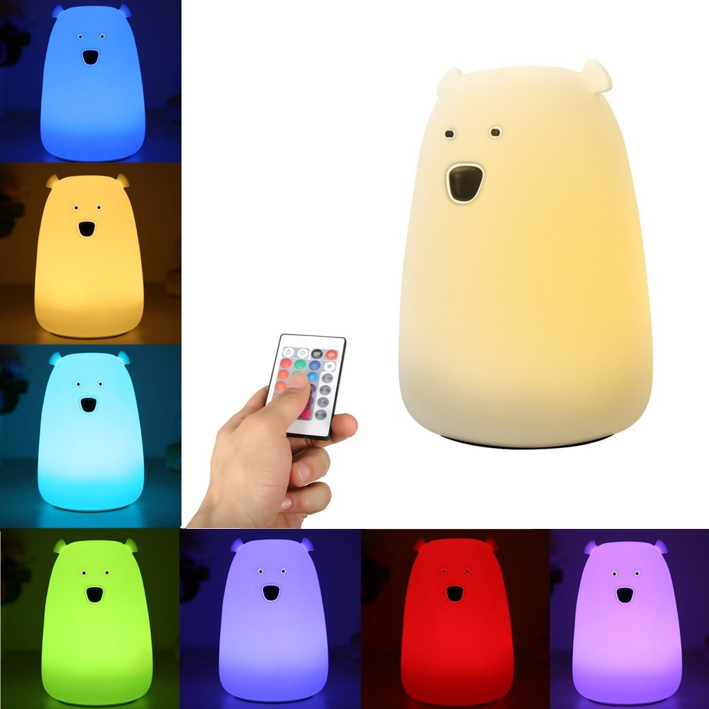 Night Light for Kids,GLIME Remote Control LED Bear Soft Silicone Baby Toddler Bedside Lamps for Bedrooms 16-Colors/Sensitive Tap/Adjustable Brightness/USB Rechargeable/Children Best Gifts Night Lamp by GLIME