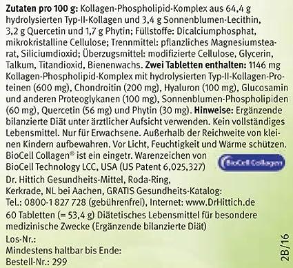 Ultra Gelenk Kraft Pro - 60 comprimidos con ácido hialurónico, glucosamina, colágeno y BioCell para reponer el líquido synovial. Contra los dolores de las ...