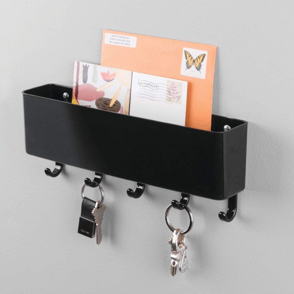 mDesign Colgador de llaves con estante para apoyar correo, papeles y celulares - Organizador de llaves con portacartas en plástico resistente - Cuelga ...