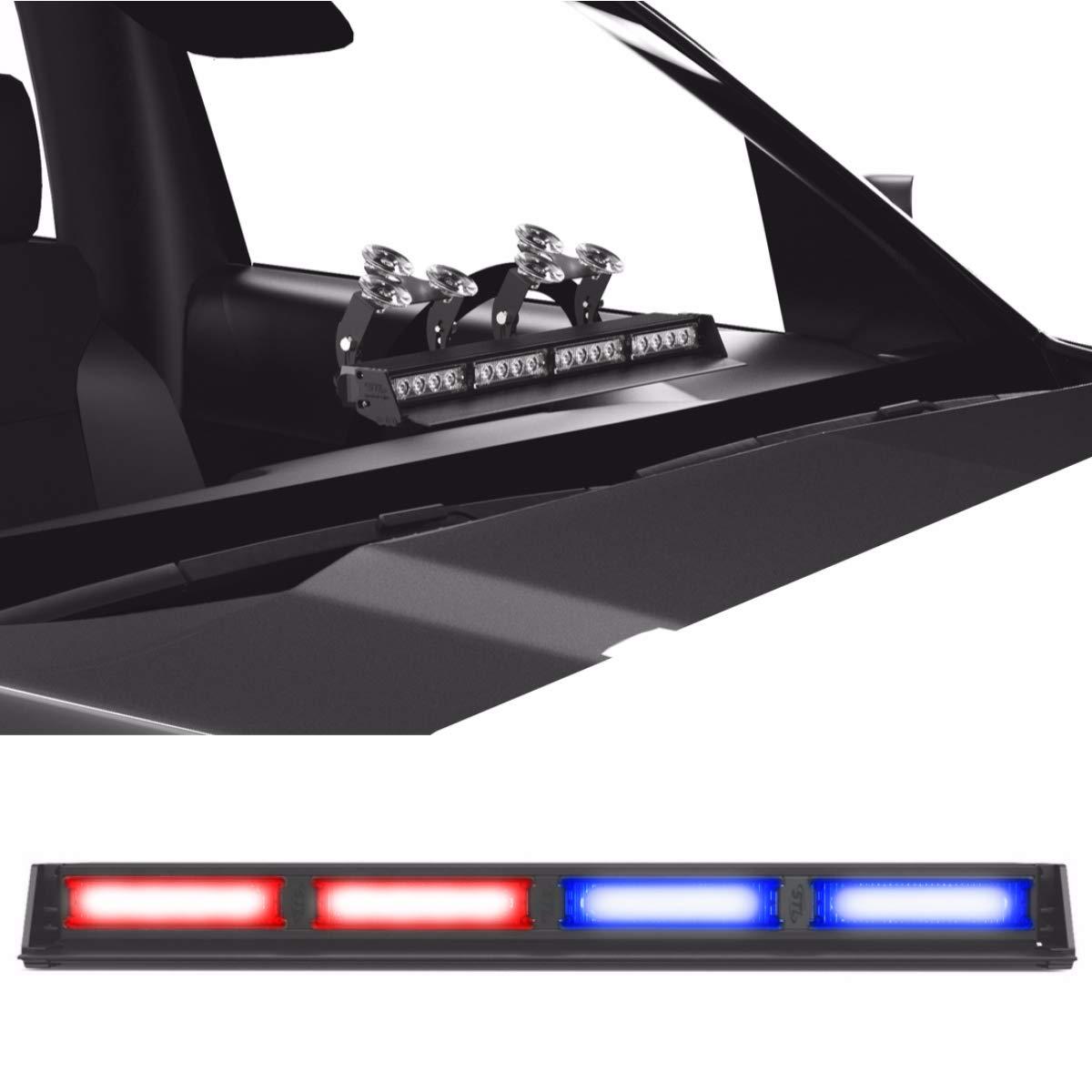 Striker TIR 4 Head LED Dash Light for Emergency Vehicles/Warning Strobe Deck/Dash Light Windshield Mount - Red/Blue