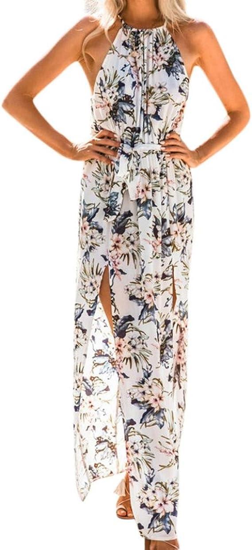 Longra Damen Chiffonkleider Blumen Druckkleider Langarmkleid mit V-Ausschnitt Strandkleid Sommerkleid Lange Maxikleider Boho Casual Lang Cocktailkleid Beachwear