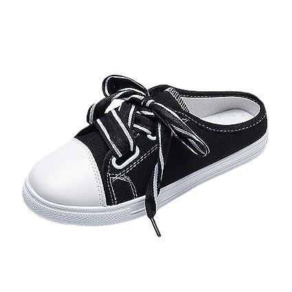 9d362f6d04b10 Peigen Chic Girl's Women Sneaker Mule - Women's Fashion Sports Spring  Casual Flat Canvas Shoes