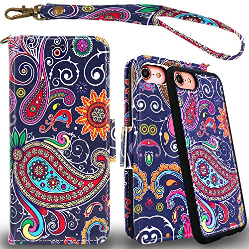 Mefon Detachable Leather Wallet Phone Case, with Tempered Glass and Wrist Strap, Enhanced Magnetic Closure, Durable Slim, Luxury Flip Folio Cases for Apple iPhone 8, 7, 6S, 6, 4.7 inch ()
