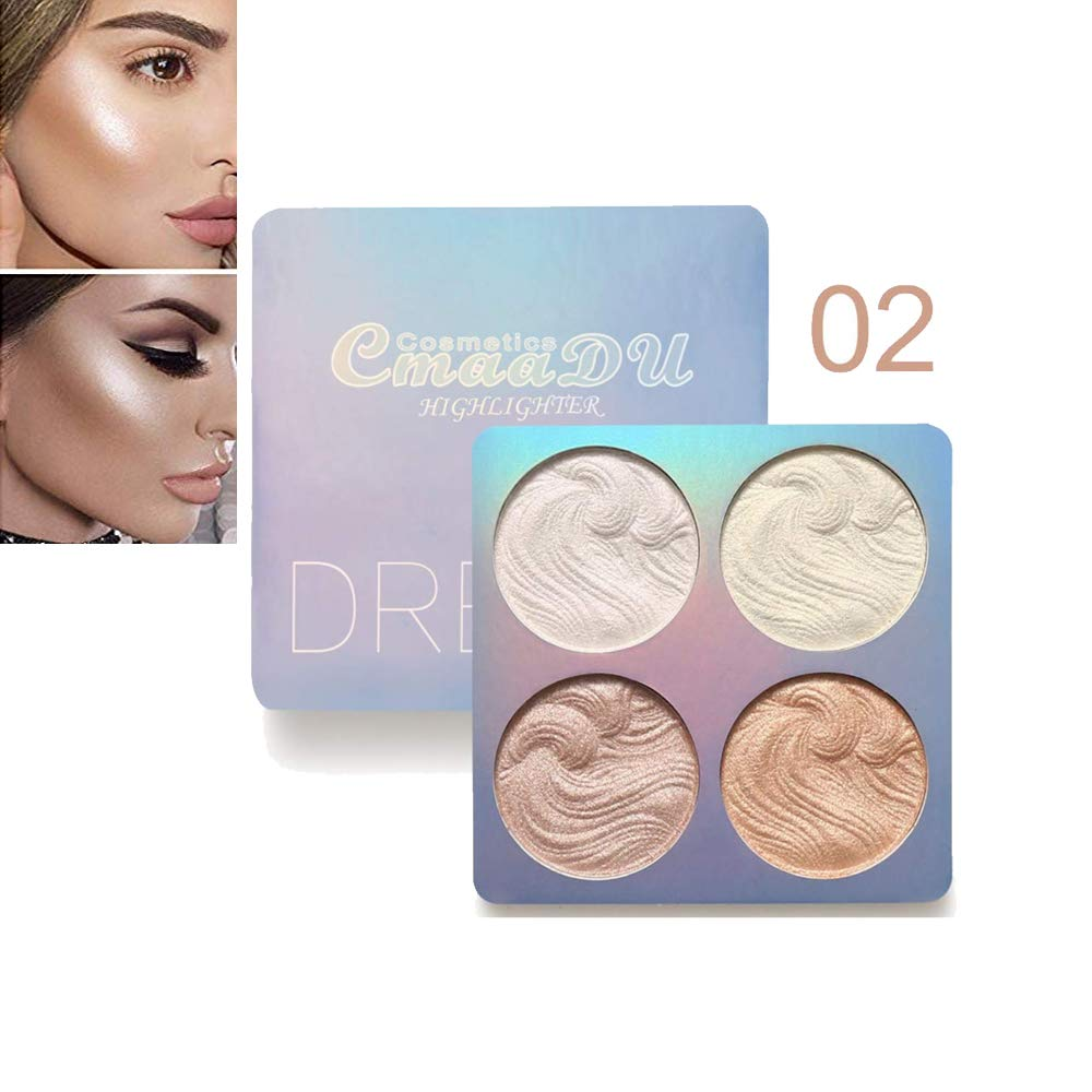 Highlighter Palette Set, SuperThinker Highlighter Makeup Powder Long Lasting Waterproof Bronzer (#3)
