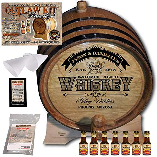 Personalized Whiskey Making Kit (103) - Create Your Own Canadian Rye Whiskey - The Outlaw Kit from Skeeter's Reserve Outlaw Gear - MADE BY American Oak Barrel - (Oak, Black Hoops, 5 Liter) ()