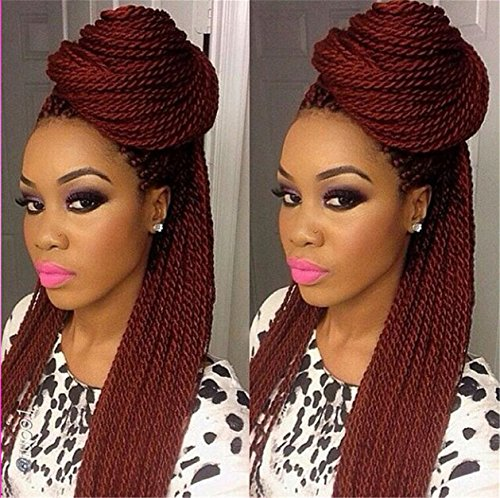 ATOZWIG 99J African American Woman Hand Knoted-Braided Lace Hair Wigs Heat Resistant Synthetic Hair Box Braid Lace Front (Braid Wigs)