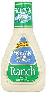 Kens Steak House, Ranch Salad Dressing, 16oz